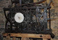 Mechanism of a six-hour clock built by a local blacksmith.