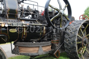 steam traction engine fitted with ploughing equipment