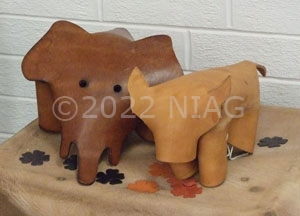 Leather elephants at University of Northampton's tannery
