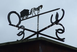 The weather vane on top of the gazebo protecting the haystack boiler at Swannington