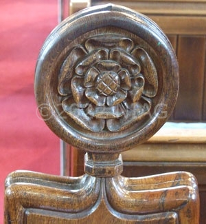Detail of pew end at Wellingborough School