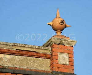 Finial on top of Ernest Chamber's factory, now Western Engineering, Raunds
