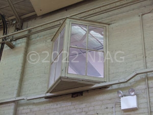 An internal window inside the old tram depot, Northampton