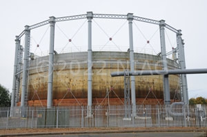 One of the gas holders in Northampton due for demolition