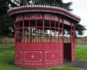 Repainted tram shelter opposite the Cock Hotel, Northampton
